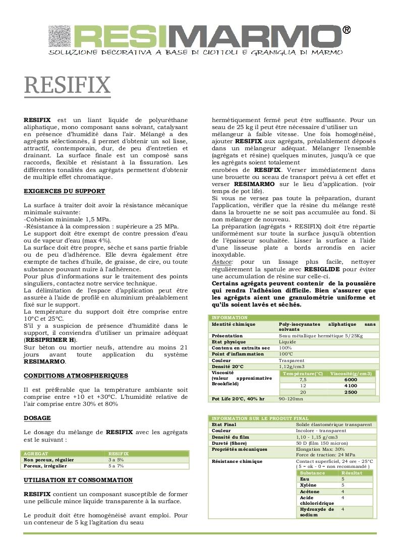 RESIFIX liant liquide de polyuréthane aliphatique