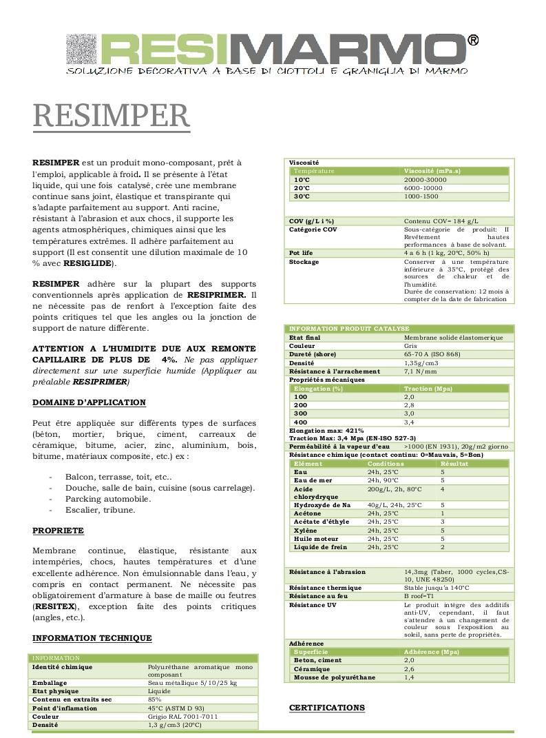 RESIMPER - Anti racine, résistant à l'abrasion et aux chocs