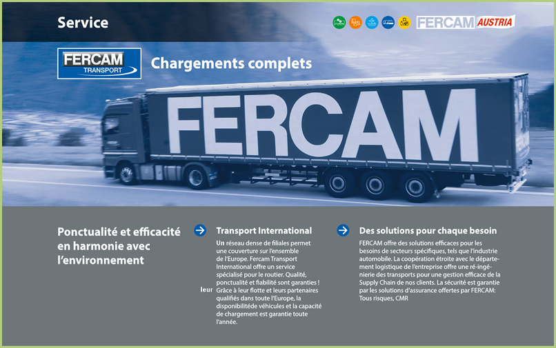 Le transport - FERCAM Transport international - un service de qualité
