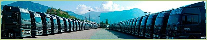 La livraison du granulat de marbre - Flotte de Camions de la Société FERCAM