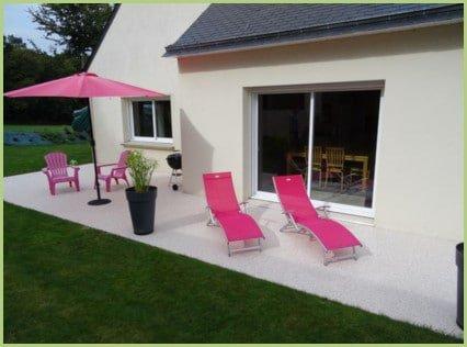 Terrasse en granulat de marbre rose