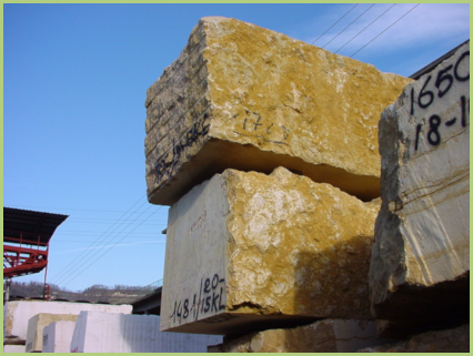 Blocs de marbre pour l'exportation