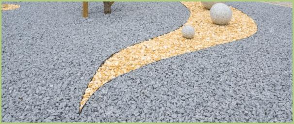 Motif dans une-terrasse en granulat de marbre