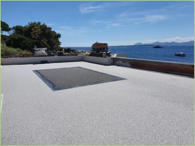Terrasse panoramique bardiglio light naturale et centre grigio carnico